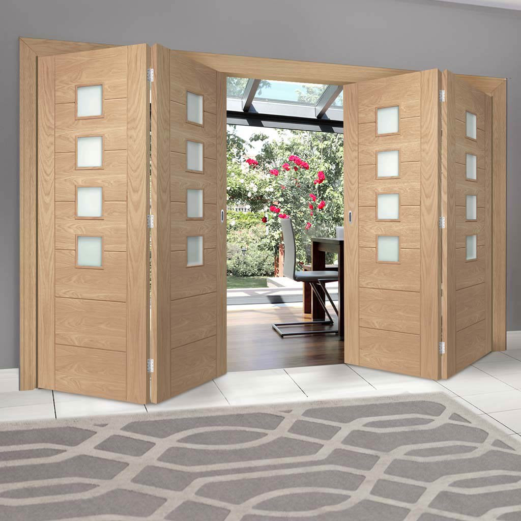 Four Folding Doors & Frame Kit - Palermo Oak 4 Pane 2+2 - Obscure Glass - Unfinished
