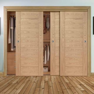 Image: Bespoke Thruslide Palermo Flush Oak 3 Door Wardrobe and Frame Kit