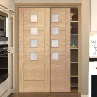 Image: Bespoke Thruslide Palermo Oak Glazed 2 Door Wardrobe and Frame Kit - Prefinished