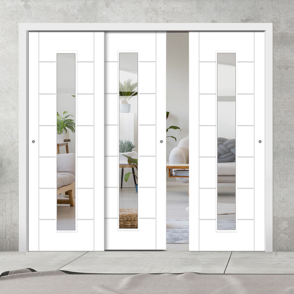 Three Sliding Doors and Frame Kit - Palermo 1 Pane Flush Door - Clear Glass - White Primed