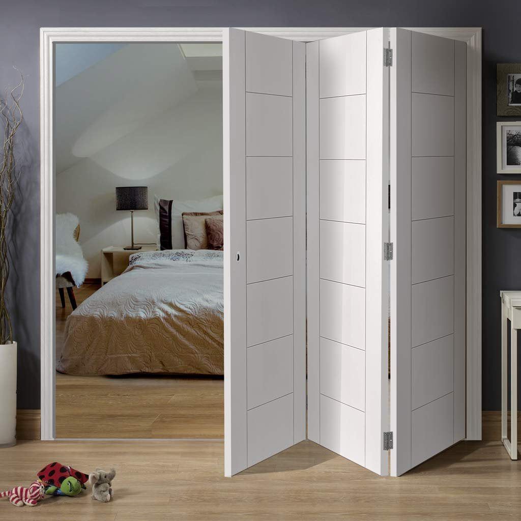 Three Folding Doors & Frame Kit - Palermo Flush 3+0 - White Primed