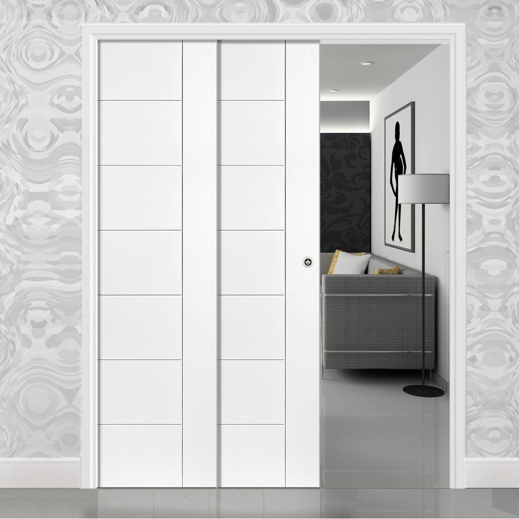 Palermo Staffetta Twin Telescopic Pocket Doors - Primed