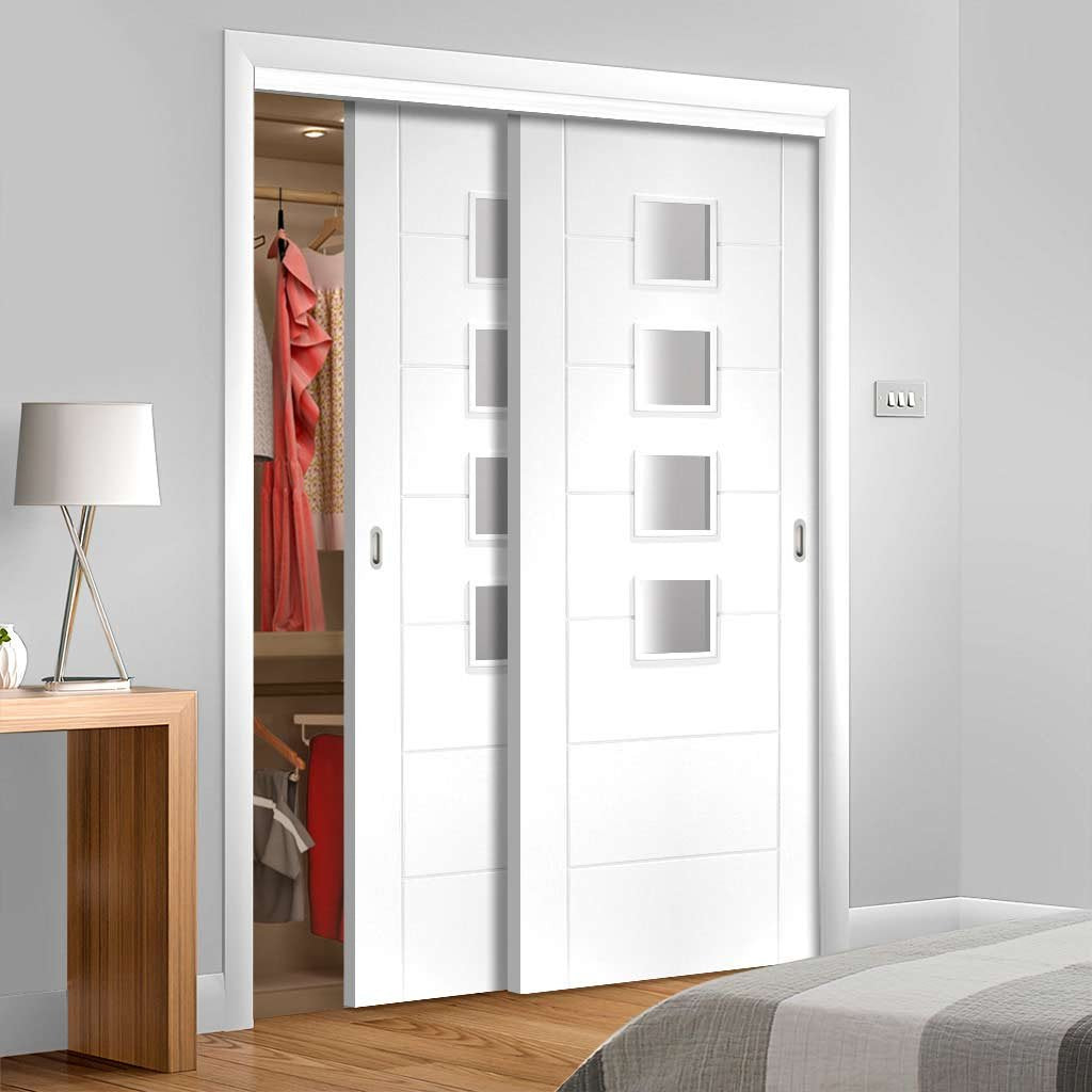 Bespoke Thruslide Palermo Glazed 2 Door Wardrobe and Frame Kit - White Primed - White Primed