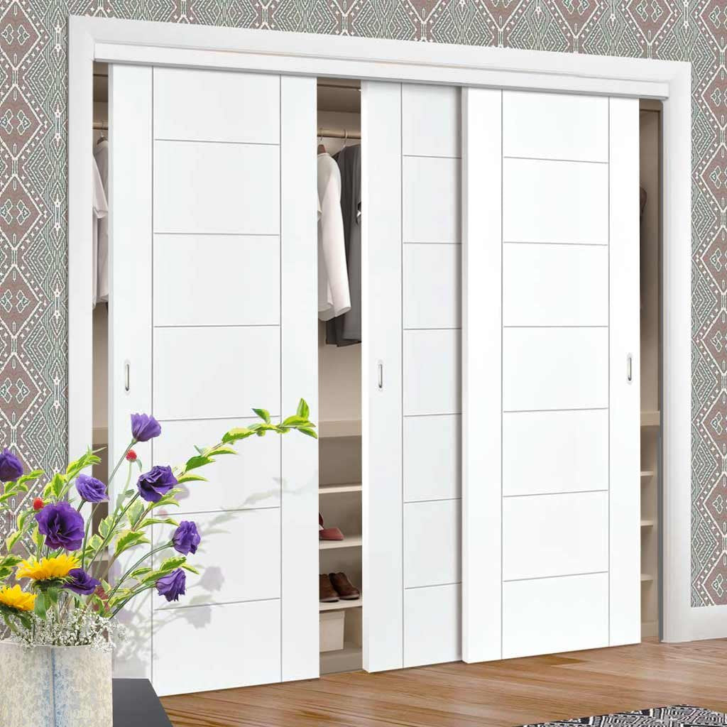 Bespoke Thruslide Palermo Flush 3 Door Wardrobe and Frame Kit - White Primed