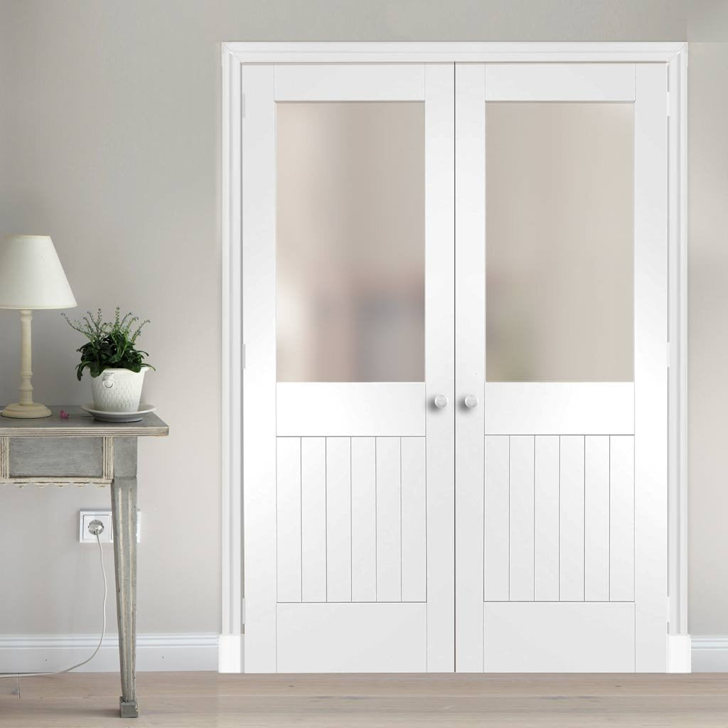 Bespoke Suffolk White Primed Glazed Door Pair