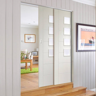 Image: Palermo Staffetta Twin Telescopic Pocket Doors - Frosted Glass - Primed