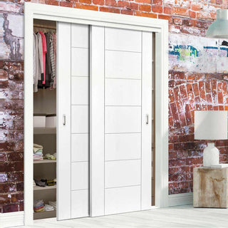 Image: Thruslide Palermo Flush 2 Door Wardrobe and Frame Kit - White Primed