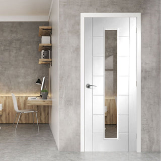 Image: bespoke palermo 1l white primed glazed door