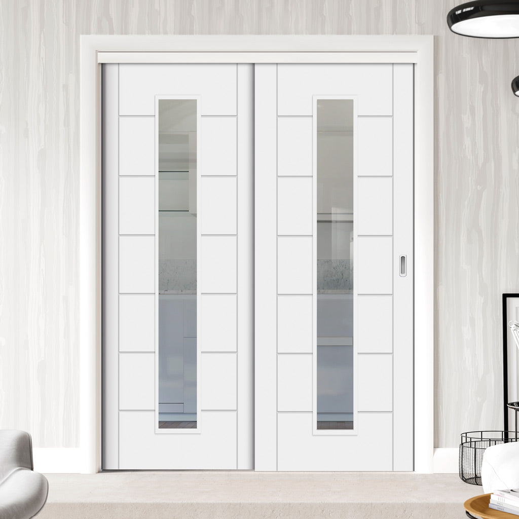 Two Sliding Doors and Frame Kit - Palermo 1 Pane Flush Door - Clear Glass - White Primed
