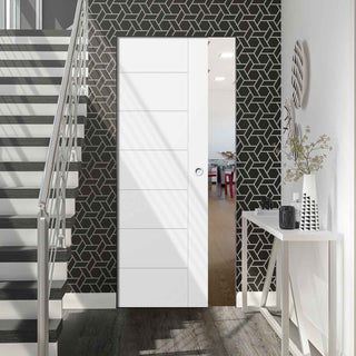 Image: Palermo Flush Absolute Evokit Pocket Door - Primed