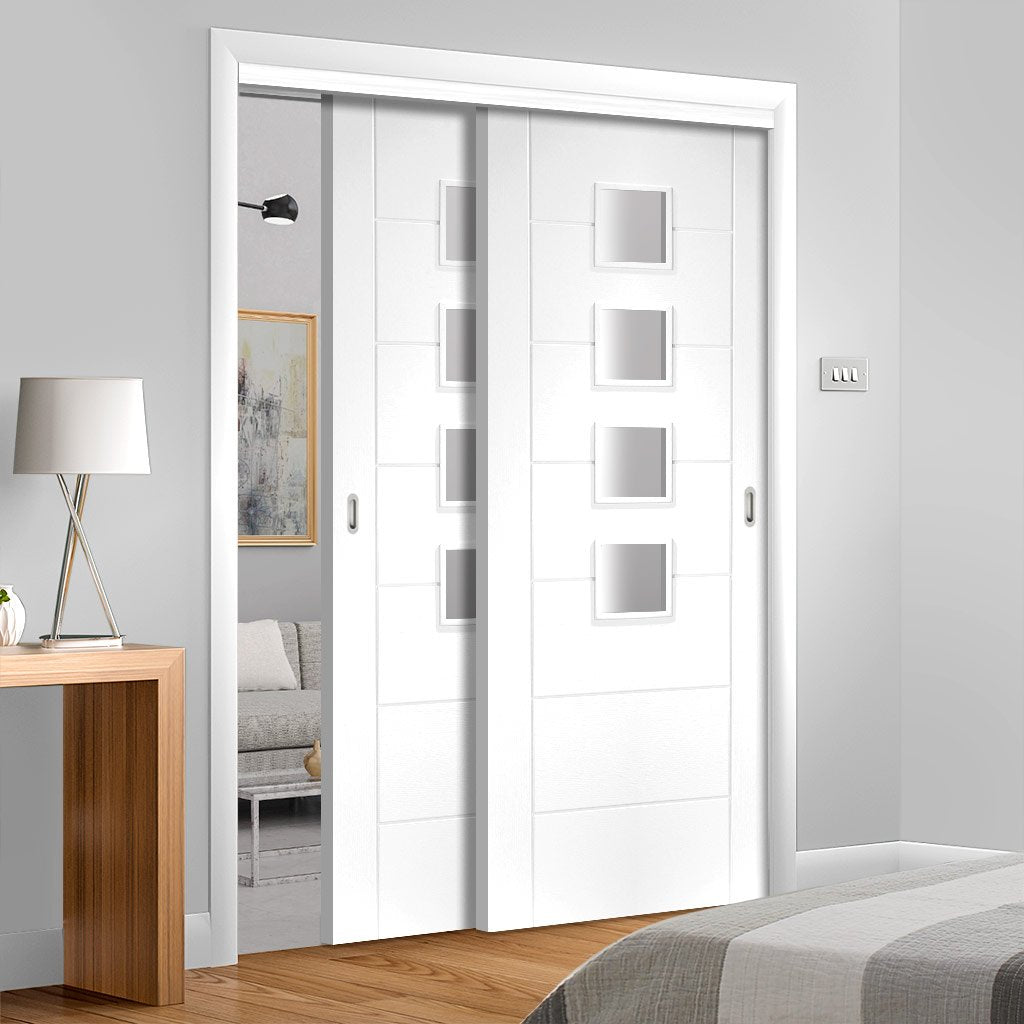 Two Sliding Doors and Frame Kit - Palermo Door - Obscure Glass - White Primed