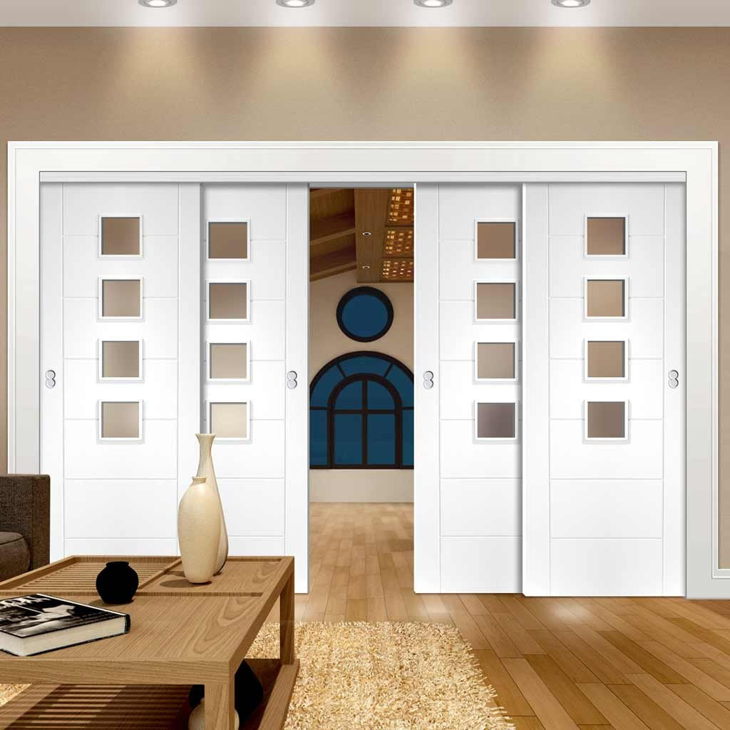 Four Sliding Doors and Frame Kit - Palermo Door - Obscure Glass - White Primed
