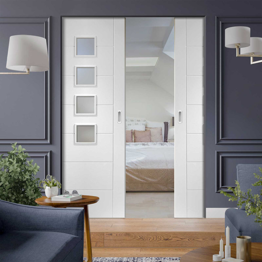 Palermo Absolute Evokit Double Pocket Door - Frosted Glass - Primed