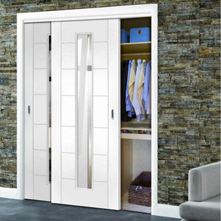 Image: Bespoke Thruslide Palermo 1L Glazed 2 Door Wardrobe and Frame Kit - White Primed - White Primed