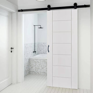 Image: Top Mounted Sliding Track & Door - Palermo Flush Door - White Primed