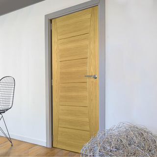Image: Pamplona Oak Flush Fire Door - 1/2 Hour Fire Rated - Prefinished