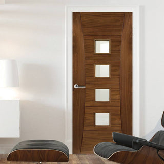 Image: Pamplona Walnut Fire Door - Clear Glass - 1/2 Hour Fire Rated - Prefinished