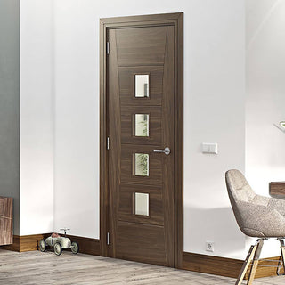 Image: Pamplona Prefinished Walnut Door - Clear Glass