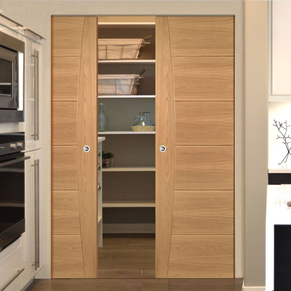 Pamplona Oak Flush Absolute Evokit Double Pocket Doors - Prefinished