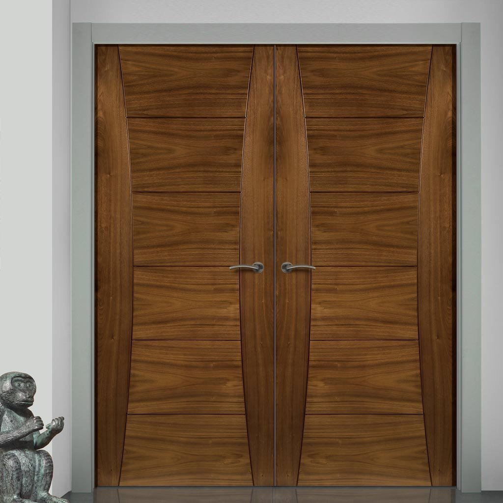 Bespoke Pamplona Walnut Prefinished Fire Door Pair - 1/2 Hour Fire Rated