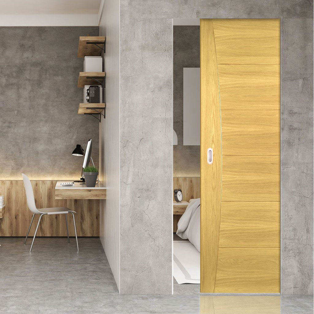 Pamplona Oak Flush Absolute Evokit Single Pocket Door - Prefinished