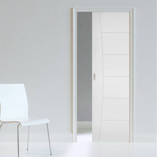 Image: Pamplona Flush Evokit Pocket Fire Door - 1/2 Hour Fire Rated - White Primed
