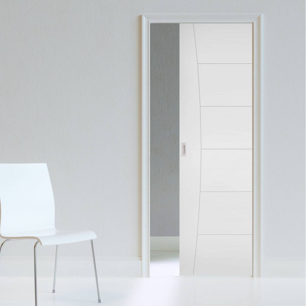 Pamplona Flush Single Evokit Pocket Door - White Primed