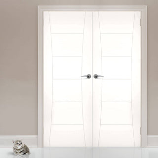 Image: Pamplona White Primed Flush Door Pair