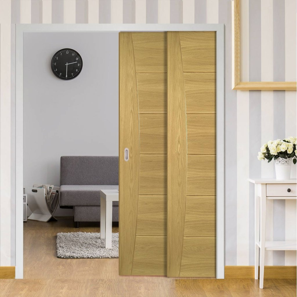 Pamplona Oak Veneer Flush Staffetta Twin Telescopic Pocket Doors - Prefinished