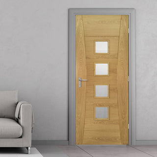 Image: Pamplona Oak Door - Clear Glass - 1/2 Hour Fire Rated - Prefinished