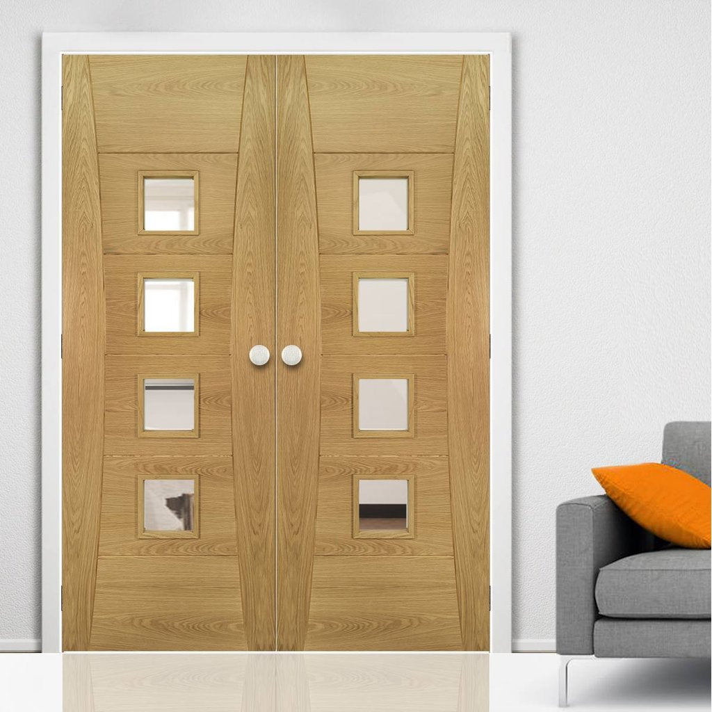 Pamplona Oak Flush Door Pair - Clear Glass - Prefinished