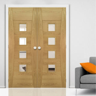 Image: Pamplona Oak Flush Door Pair - Clear Glass - Prefinished