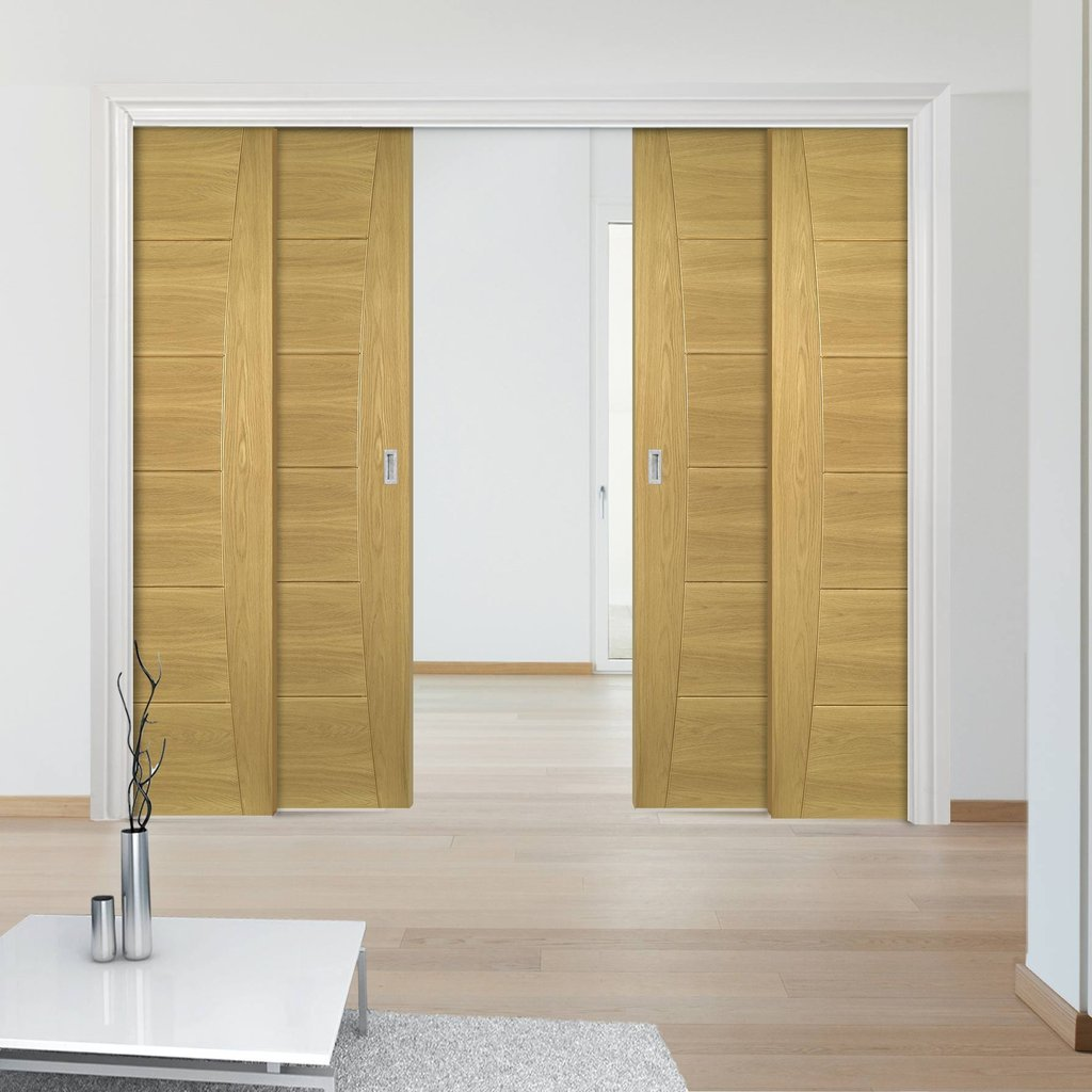 Pamplona Oak Flush Staffetta Quad Telescopic Pocket Doors - Prefinished