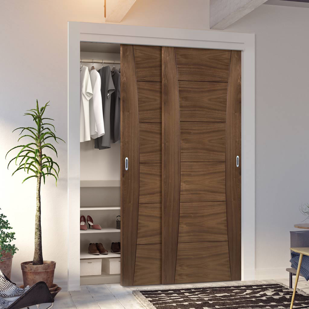Two Sliding Wardrobe Doors & Frame Kit - Pamplona Prefinished Walnut Door