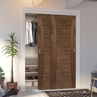 Image: Two Sliding Wardrobe Doors & Frame Kit - Pamplona Prefinished Walnut Door
