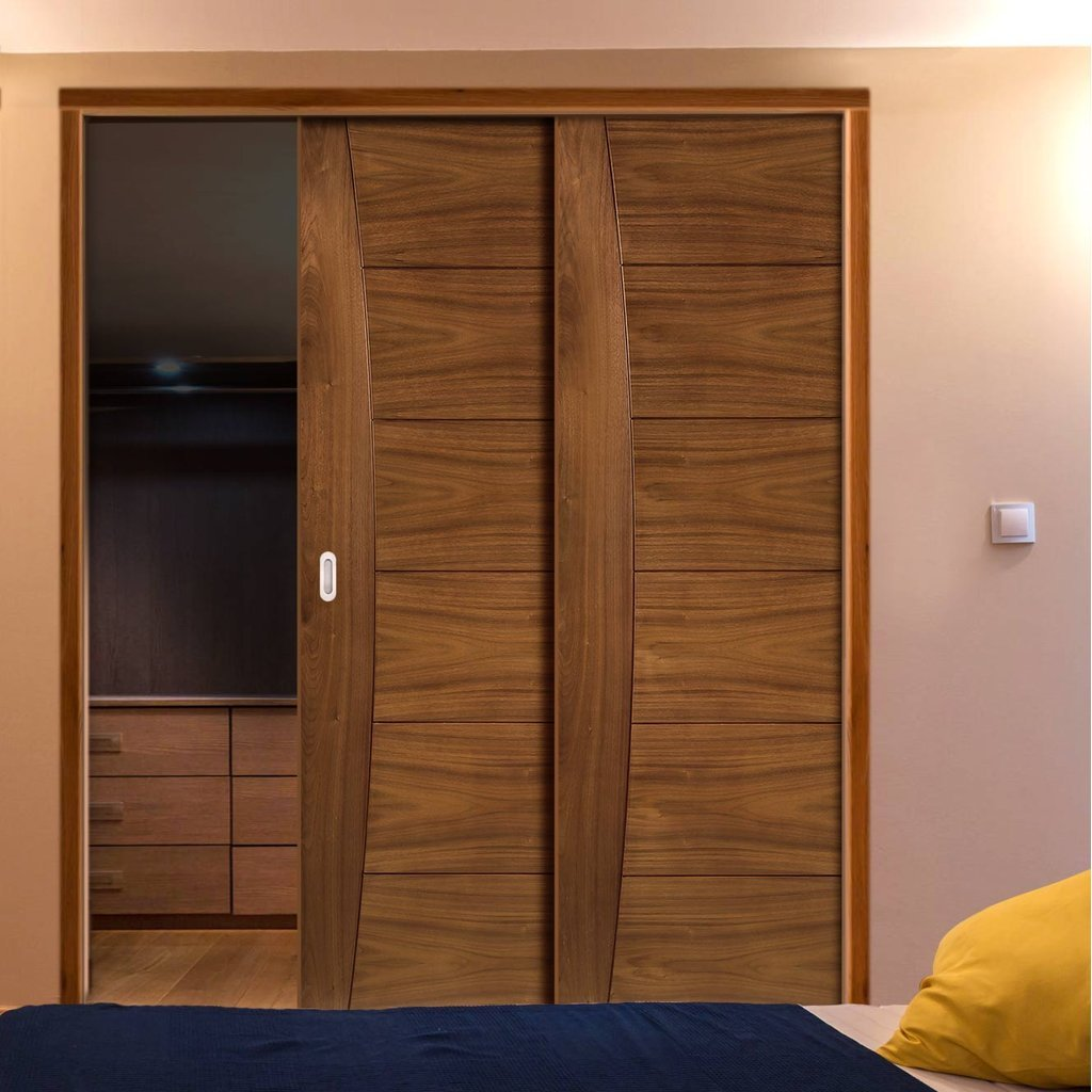 Pamplona Walnut Veneer Staffetta Twin Telescopic Pocket Doors - Prefinished