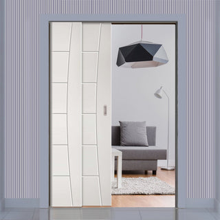 Image: Pamplona Flush Staffetta Twin Telescopic Pocket Doors - White Primed