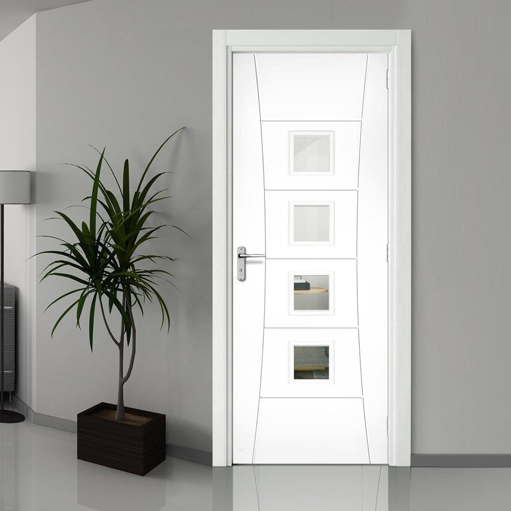 Bespoke Pamplona White Primed Fire Door - Clear Glass - 1/2 Hour Fire Rated