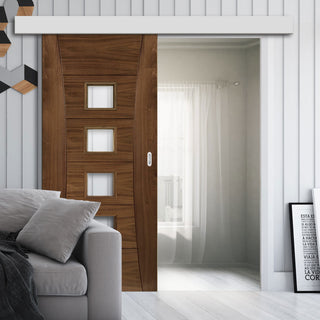 Image: Single Sliding Door & Wall Track - Pamplona Prefinished Walnut Door - Clear Glass