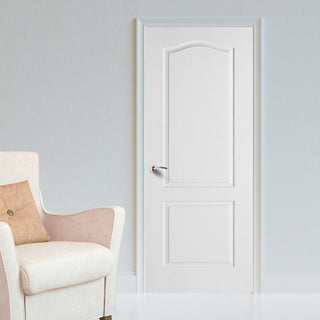 Image: White Fire Door, Textured Classical 2 Panel Door - 1/2 Hour Rated - White Primed
