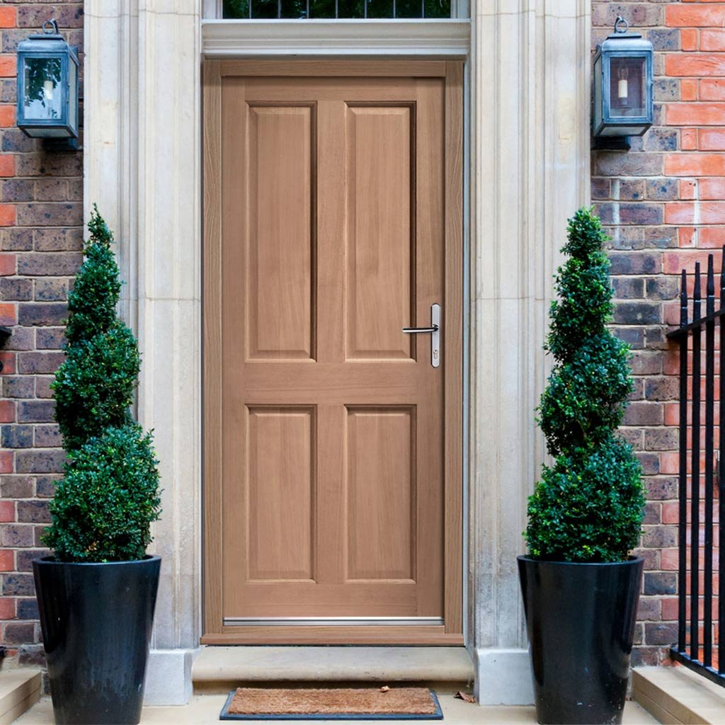 Colonial Hardwood 4 Panel External Door and Frame Set with Fittings, From LPD Joinery