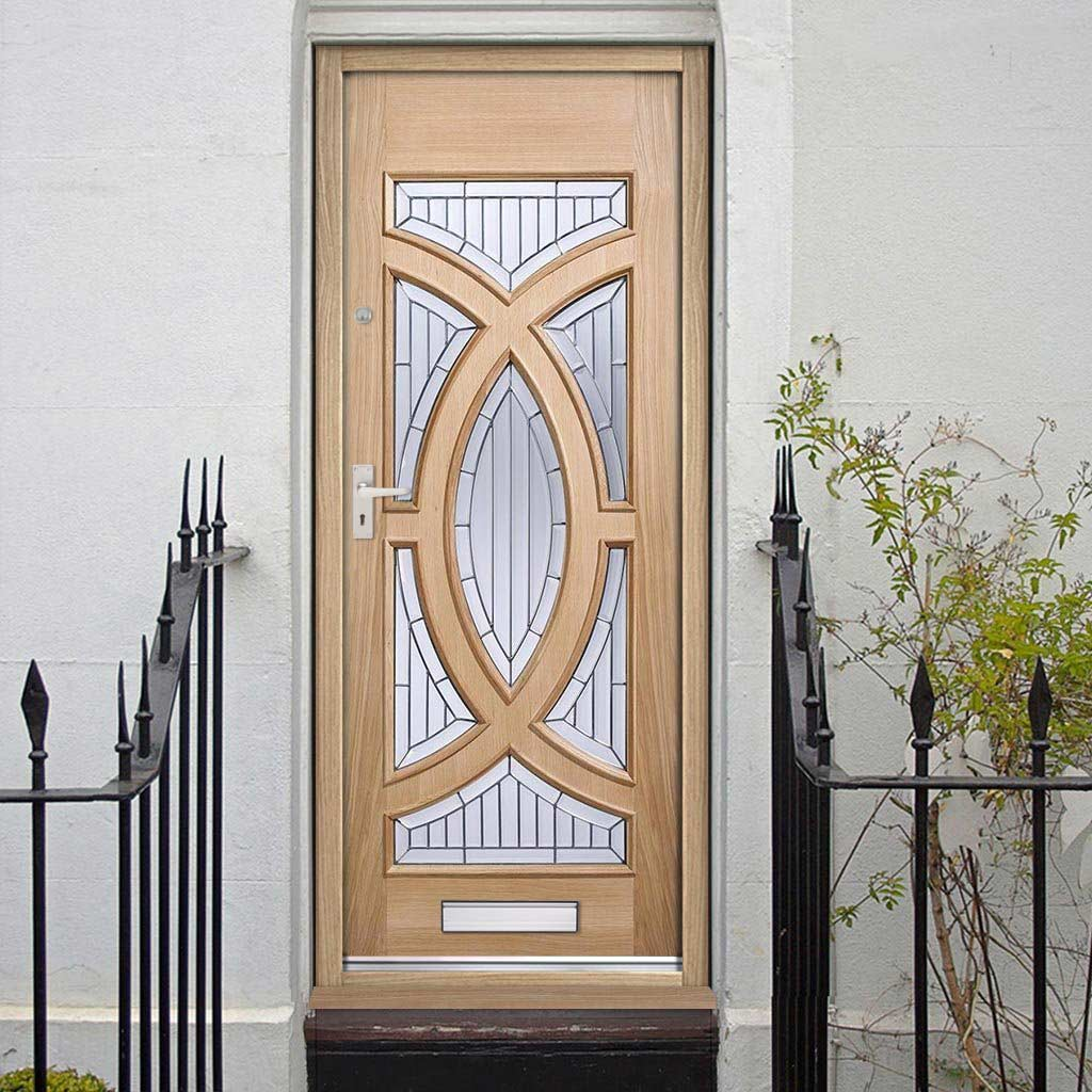 Majestic Oak Door - Zinc Clear Tri Glazing