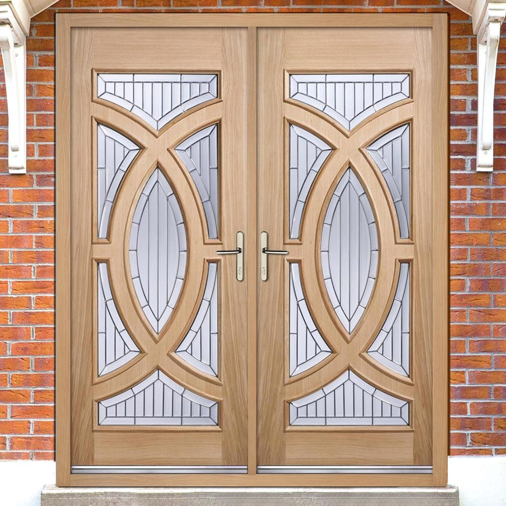 Majestic External Oak Door Pair - Zinc Bevel Clear Tri Glazing