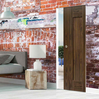Image: Axis Shaker Walnut Absolute Evokit Pocket Door Panelled- Prefinished
