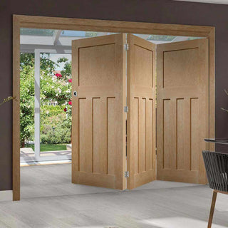 Image: Three Folding Doors & Frame Kit - DX Oak 1930's Panel 3+0 - Unfinished
