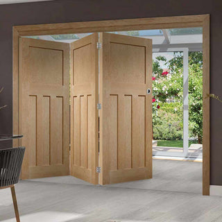 Image: Three Folding Doors & Frame Kit - DX 1930'S Oak Panel 3+0 - Prefinished