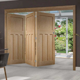 Image: Bespoke Thrufold DX 1930'S Oak Panel Folding 3+0 Door - Prefinished