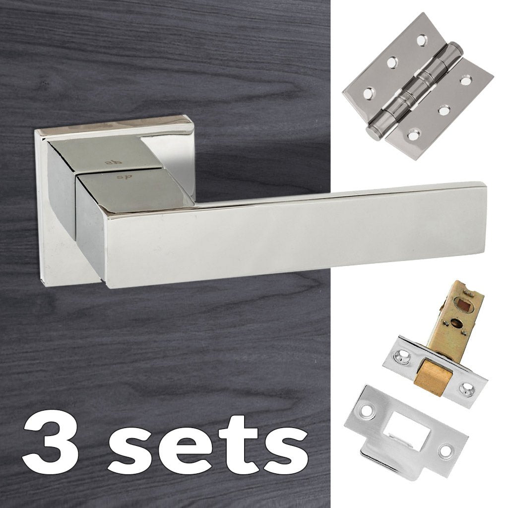 Three Pack Senza Pari Panetti Lever on Flush Rose - Polished Chrome Handle
