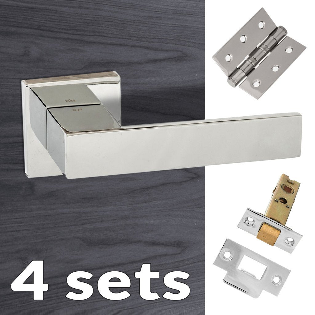 Four Pack Senza Pari Panetti Lever on Flush Rose - Polished Chrome Handle