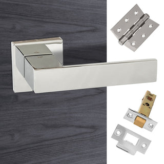 Image: Senza Pari Panetti Lever on Flush Rose - Polished Chrome Handle Pack